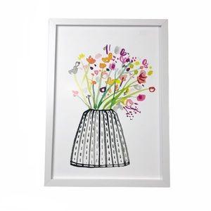 Floral Vase Framed Artwork Photograph White Decor